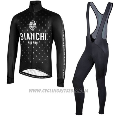 2019 Cycling Jersey Bianchi Milano FT Black White Long Sleeve and Bib Tight