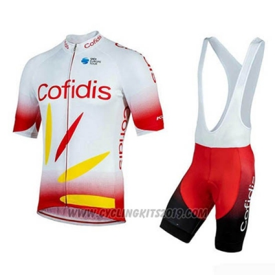 2019 Cycling Jersey Cofidis Red White Short Sleeve and Bib Short