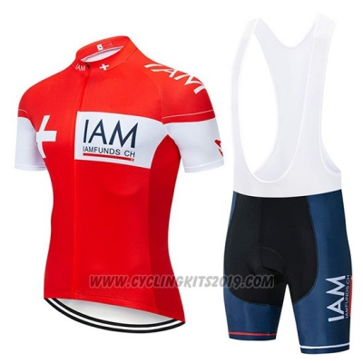 2019 Cycling Jersey IAM Red White Short Sleeve and Bib Short