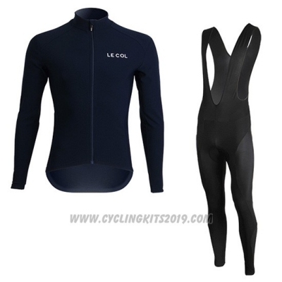 2019 Cycling Jersey Lecol Blue Long Sleeve and Bib Tight