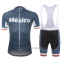 2019 Cycling Jersey Mexico Dark Blue Short Sleeve and Bib Short