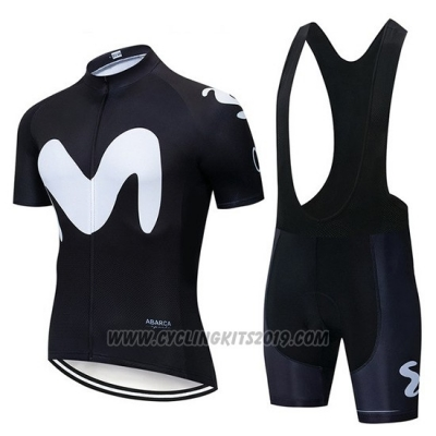 2019 Cycling Jersey Movistar Black Short Sleeve and Bib Short