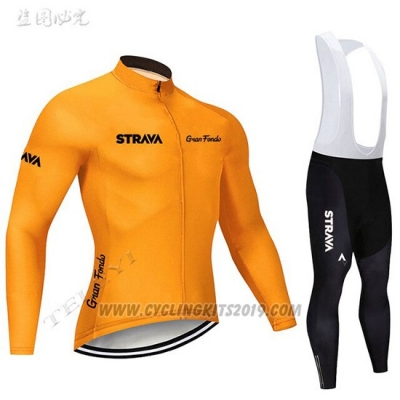 2019 Cycling Jersey STRAVA Orange Long Sleeve and Bib Tight