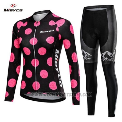 2019 Cycling Jersey Women Mieyco Black Pink Long Sleeve and Bib Tight