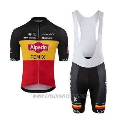 2020 Cycling Jersey Alpecin Fenix Black Yellow Red Short Sleeve and Bib Short