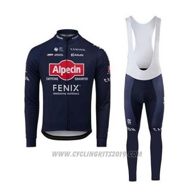2020 Cycling Jersey Alpecin Fenix Blue Red Long Sleeve and Bib Tight
