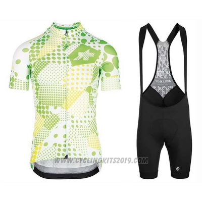 2020 Cycling Jersey Assos Erlkoenig Green White Short Sleeve and Bib Short