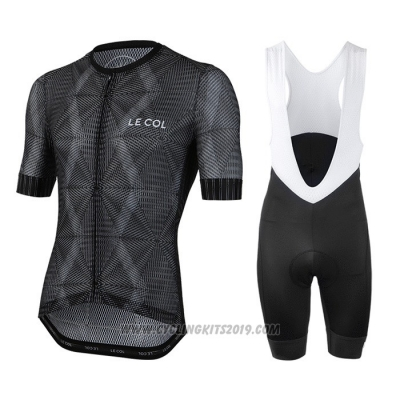 2020 Cycling Jersey Le Col Black Gray Short Sleeve and Bib Short
