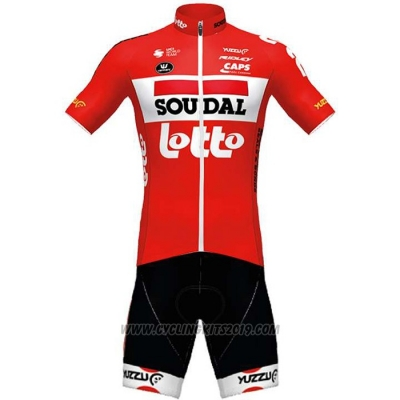 2020 Cycling Jersey Lotto Soudal Red Short Sleeve and Bib Short
