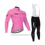 2020 Cycling Jersey STRAVA Pink Long Sleeve and Bib Tight