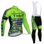 2020 Cycling Jersey Tinkoff Saxo Bank Green Camouflage Long Sleeve and Bib Tight