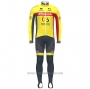 2020 Cycling Jersey Wallonie Bruxelles Yellow Red Long Sleeve and Bib Tight