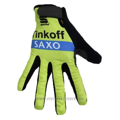 2020 Tinkoff Saxo Full Finger Gloves Green Black