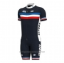 2021 Cycling Jersey France Dark Blue Short Sleeve and Bib Short