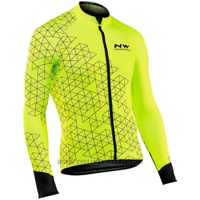 Cycling Jersey Northwave Yellow Long Sleeve and Bib Tight