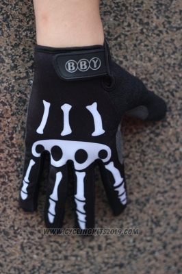 Skull Full Finger Gloves Cycling Black and White