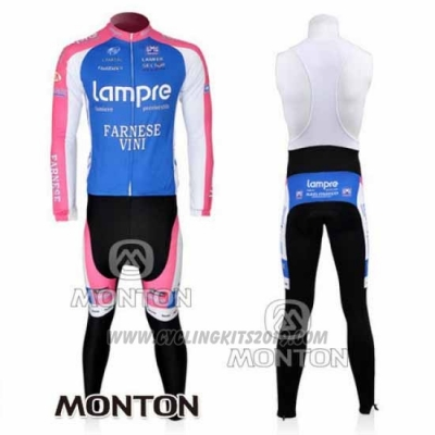 2010 Cycling Jersey Lampre Farnese Vini Pink and Light Blue Long Sleeve and Bib Tight