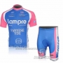 2010 Cycling Jersey Lampre Farnese Vini Pink and Light Blue Short Sleeve and Bib Short Pantaloni