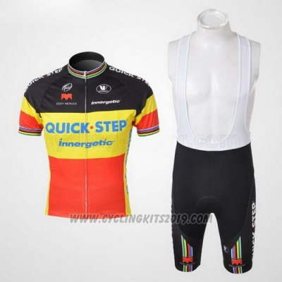 2010 Cycling Jersey Quick Step Campione Belgium Short Sleeve and Bib Short