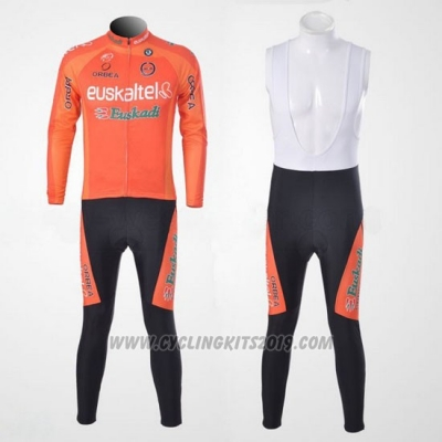 2011 Cycling Jersey Euskalte Orange Long Sleeve and Bib Tight