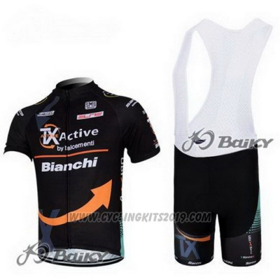 2012 Cycling Jersey Bianchi Black and Orange Short Sleeve and Bib Short