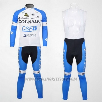 2012 Cycling Jersey Colnago Sky Blue and White Long Sleeve and Bib Tight