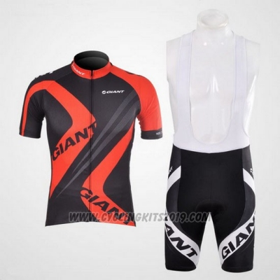 2012 Cycling Jersey Giant Black and Red Short Sleeve and Bib Short