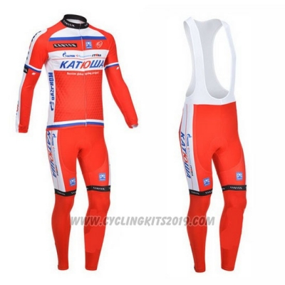 2013 Cycling Jersey Katusha White and Red Long Sleeve and Bib Tight