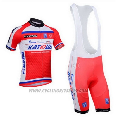 2013 Cycling Jersey Katusha White and Red Short Sleeve and Bib Short