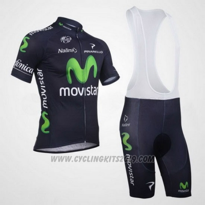 2013 Cycling Jersey Movistar Black Short Sleeve and Bib Short