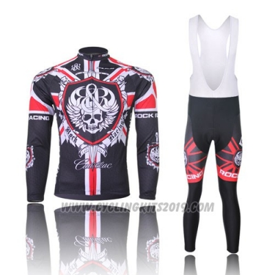 2013 Cycling Jersey Rock Racing Black and Red Long Sleeve and Bib Tight
