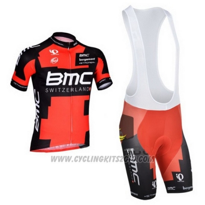 2014 Cycling Jersey BMC Red and Black Short Sleeve and Bib Short