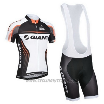 2014 Cycling Jersey Giant White and Black Short Sleeve and Bib Short