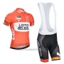 2014 Cycling Jersey Lotto Belisol Orange Short Sleeve and Bib Short