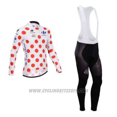 2014 Cycling Jersey Tour de France White and Red Long Sleeve and Bib Tight