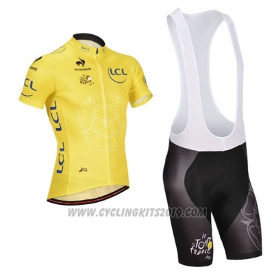 2014 Cycling Jersey Tour de France Yellow Short Sleeve and Bib Short