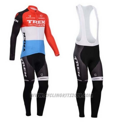 2014 Cycling Jersey Trek Factory Racing Red and White Long Sleeve and Bib Tight