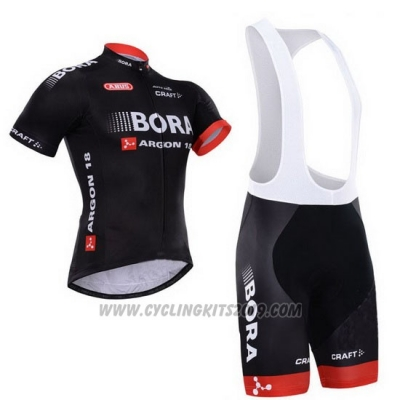 2015 Cycling Jersey Bora Black Short Sleeve and Bib Short