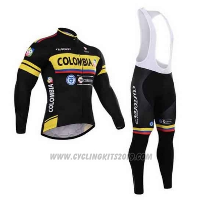 2015 Cycling Jersey Colombia Black and Yellow Long Sleeve and Bib Tight