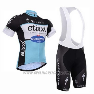 2015 Cycling Jersey Etixx Quick Step Black and White Short Sleeve and Bib Short