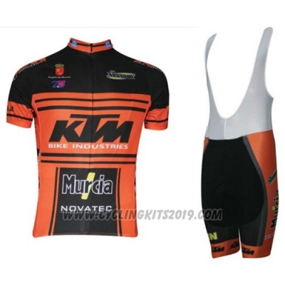 2015 Cycling Jersey Ktm Black and Orange Short Sleeve and Salopette