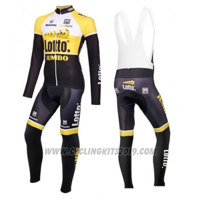 2015 Cycling Jersey Lotto NL Jumbo Yellow and Black Long Sleeve and Bib Tight