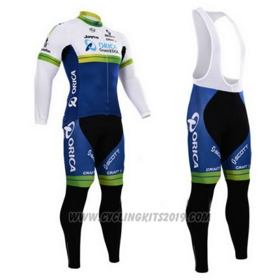 2015 Cycling Jersey Orica GreenEDGE White and Blue Long Sleeve and Bib Tight