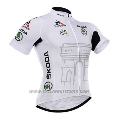 2015 Cycling Jersey Tour de France White Short Sleeve and Bib Short