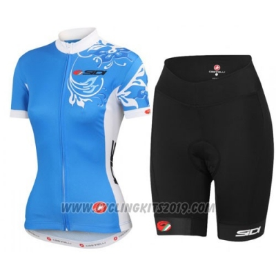 2016 Cycling Jersey Castelli White and Blue Short Sleeve and Bib Short