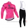 2016 Cycling Jersey Giro D'italy Pink and White Long Sleeve and Bib Tight