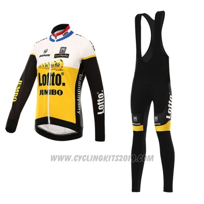 2016 Cycling Jersey Lotto NL Jumbo Yellow and Black Long Sleeve and Bib Tight