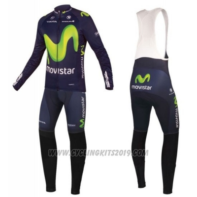 2016 Cycling Jersey Movistar Green and Blue Long Sleeve and Bib Tight