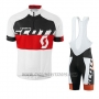 2016 Cycling Jersey Scott White Red Short Sleeve and Salopette