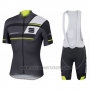 2016 Cycling Jersey Sportful Black and Green Short Sleeve and Bib Short